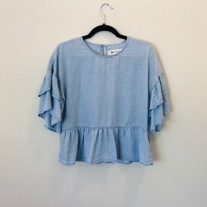 Light Blue Ruffled Impeccable Pig Top